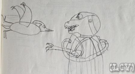 Representación de un artista de 8 años de Genghis Rex